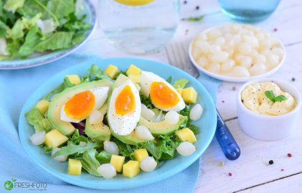 Картинка яйцо, лук, салат, авокадо