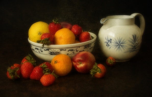 Картинка фон, лимон, клубника, ягода, ваза, кувшин, фрукты, персик, мандарины