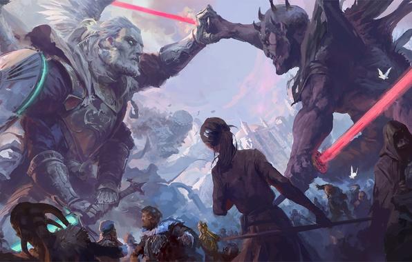 Картинка Star Wars, Darth Maul, Звёздные войны, фан-арт, Qui-Gon Jinn, Юрий Чемезов