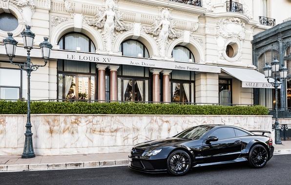Картинка город, черный, тюнинг, Mercedes, Benz, мерседес, AMG, амг, SL65