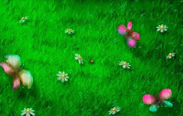 Картинка поле, бабочки, стиль, фон