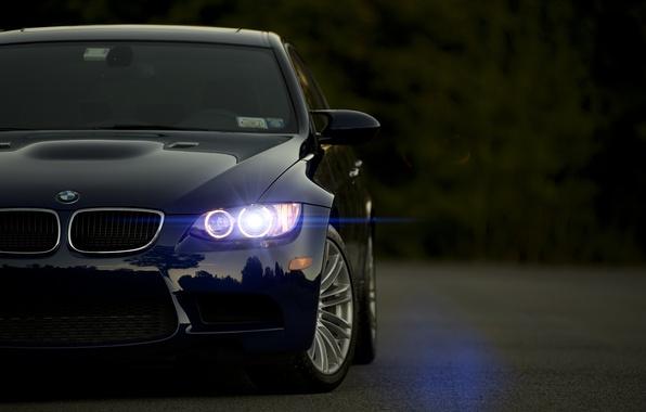 Картинка бмв, BMW, блик, синяя, blue, front, E92, 3 Series