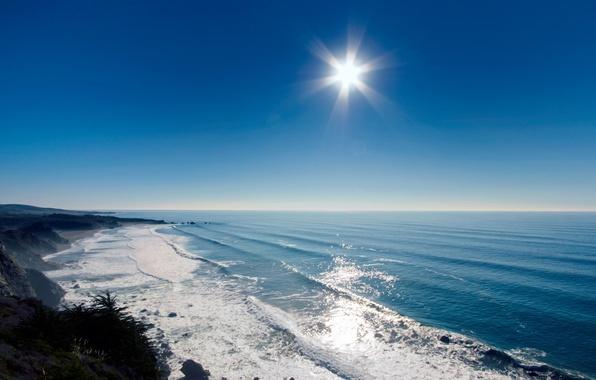 Картинка море, трава, вода, солнце, лучи, свет, природа, океан, скалы, пейзажи