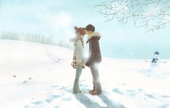 Фото обои нежность, двое, зима, первый поцелуй