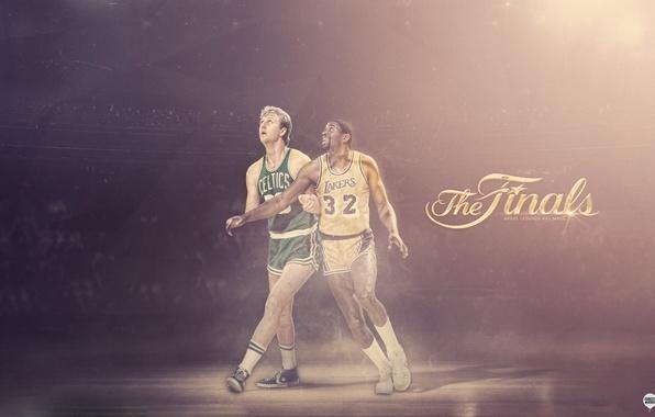 Картинка Спорт, Баскетбол, Boston, Los Angeles, NBA, Lakers, Celtics, Larry Bird, Легенды, Magic Johnson, Earvin Johnson, …