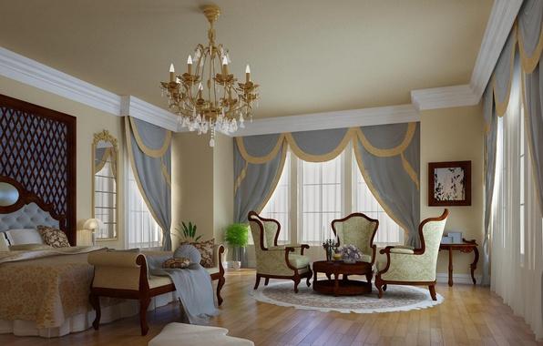 Картинка дизайн, стиль, комната, мебель, окна, кровать, интерьер, зеркало, кресла, спальня