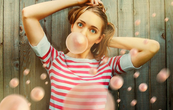 Картинка девушка, мимика, жевательная резинка, Bubble Gum