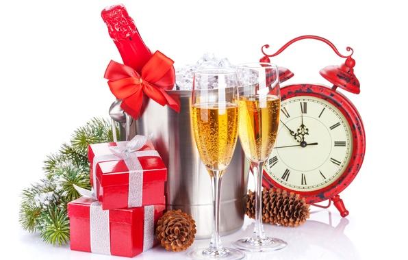 Картинка зима, снег, украшения, время, праздник, часы, Рождество, чашки, подарки, шампанское, Happy New Year, winter, snow, …