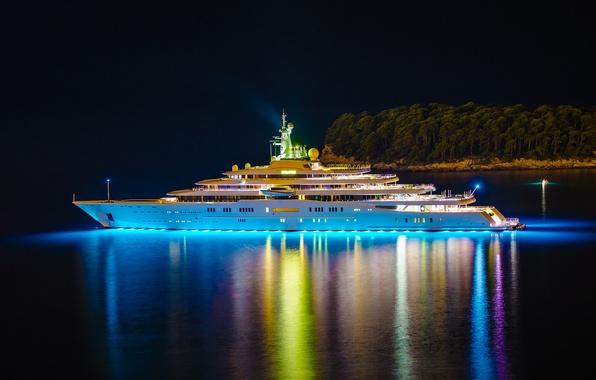 Картинка ночь, огни, остров, яхта, Eclipse, yacht, деревья., мега, роскошная