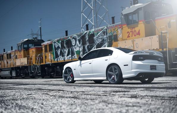 Картинка белый, жёлтый, граффити, поезд, white, вид сзади, dodge, charger, srt8, срт, train, чарджер, линия электропередач, …