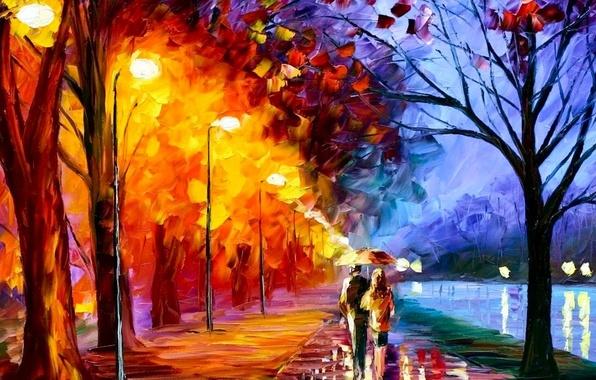Картинка любовь, масло, Рисунок, пара