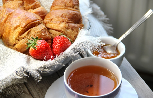 Картинка чай, завтрак, клубника, выпечка, cup, джем, croissant, breakfast, круассан, jam, tea