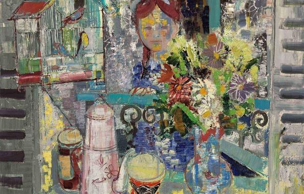 Картинка цветы, птицы, картина, клетка, ваза, Emilio Grau Sala, Утренний завтрак