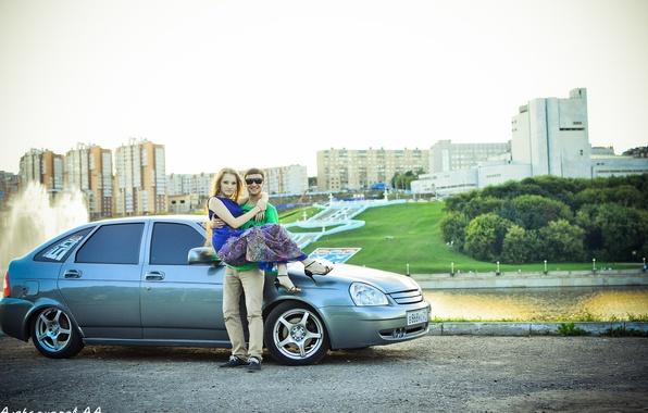 Картинка машина, авто, девушка, пара, парень, auto, LADA, Priora, ВАЗ, БПАН, Приора