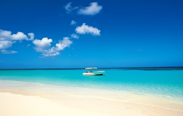 Картинка песок, море, тропики, берег, лодка