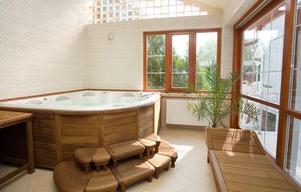 Картинка окно, ванна, джакузи, ванная комната, топчан, гидромассаж