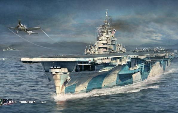 Картинка море, корабли, самолеты, авианосец, палуба, взлет, U.S.S., World Of Warship, CV-10, Yorktown