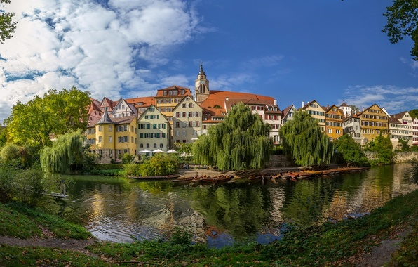 Картинка река, здания, Германия, панорама, набережная, Germany, Баден-Вюртемберг, Baden-Württemberg, Tübingen, Тюбинген, Neckar River, река Неккар