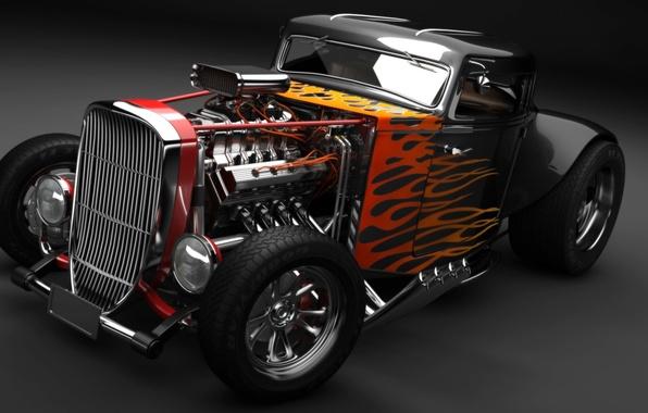 Картинка двигатель, огонь, пламя, Hot Rod, классический автомобиль
