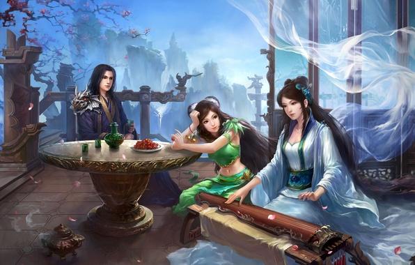 Картинка девушки, весна, арт, парень, герои, традиционная одежда, Древний Китай, Jade dynasty, MMORPG