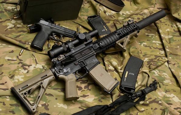 Картинка пистолет, оружие, автомат, оптика, камуфляж, винтовка, глушитель, штурмовая, Larue Tactical, полуавтоматическая