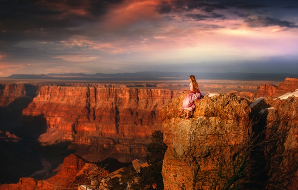 Картинка девушка, вид, высота, платье, каньон, TJ Drysdale