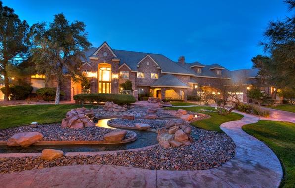 Картинка трава, деревья, дом, ручей, камни, вилла, дорожка, кусты, houses, home, exterior, стиль., hous, luxory