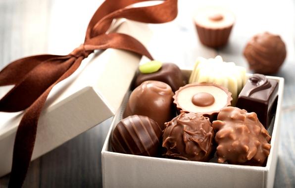 Картинка коробка, подарок, шоколад, конфеты, бантик, chocolate, sweet, gift, candy