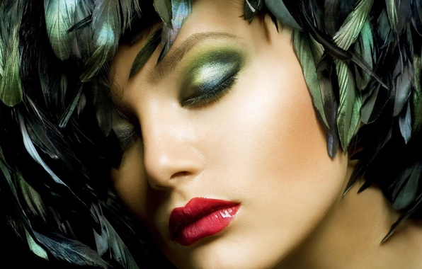 Картинка девушка, лицо, перья, макияж, помада, губы, тени