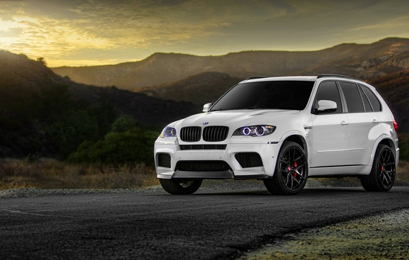Картинка бмв, BMW, white, wheels, tuning, X5M