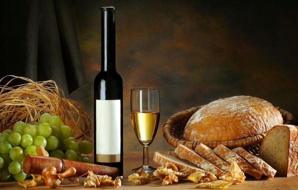 Картинка листья, вино, бокал, бутылка, хлеб, виноград, солома