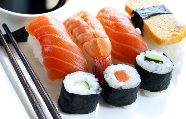 Картинка палочки, Япония, Japan, рис, ломтики, суши, роллы, креветки, морепродукты, японская кухня, лосось, japan food, суси, …
