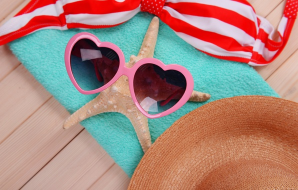 Картинка море, пляж, лето, отдых, звезда, очки, summer, beach, sun, glasses, vacation, accessories