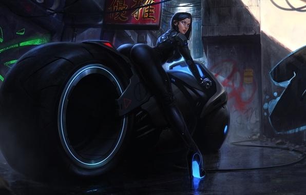 Картинка попа, девушка, фантастика, ноги, япония, арт, задница, киборг, bike, motorcycle, cyberpunk, cyberbike