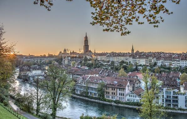 Картинка река, здания, Швейцария, панорама, Switzerland, Берн, Bern