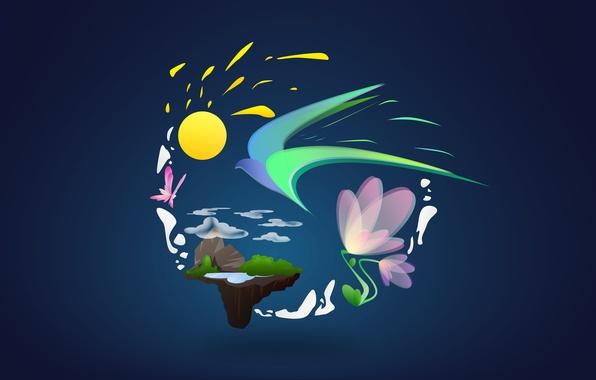 Картинка небо, солнце, облака, цветы, абстракция, стиль, земля, птица, узоры, бабочка, рисунок, earth, sky, style, bird, …