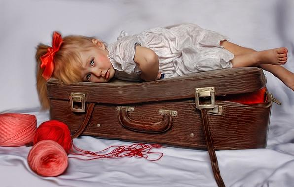 Картинка текстура, девочка, чемодан, нитки