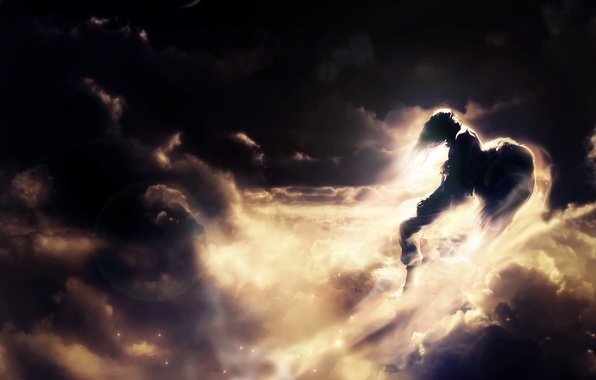 Картинка небо, цвета, солнце, облака, лучи, полет, фон, фантазия, фантастика, обои, ангел, парень