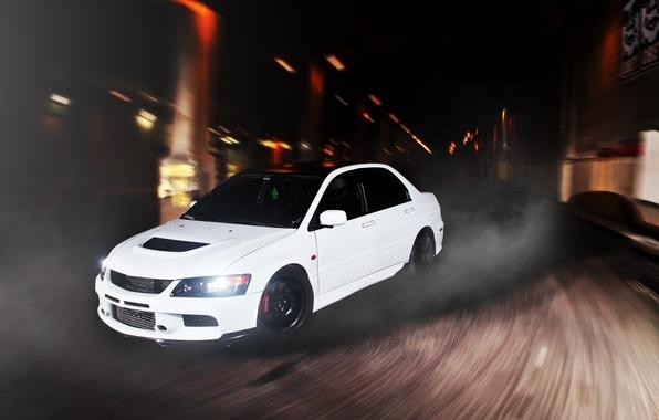 Картинка белый, скорость, поворот, Mitsubishi, Lancer, white, Evolution, front, митсубиси, эволюшн