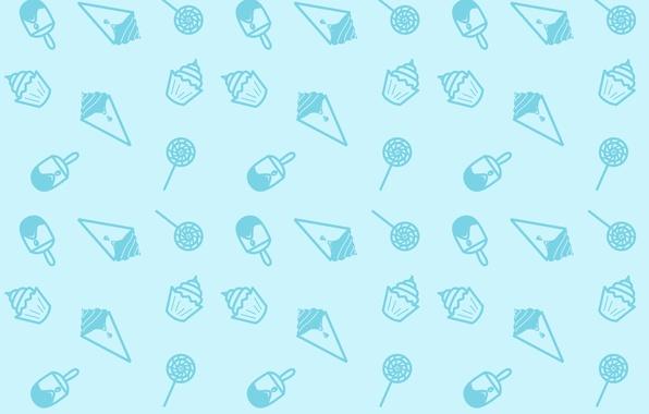 Картинка Минимализм, Синий, Конфеты, Сладости, Текстура, Мороженое, Lollipop, Ice Cream, Бесшовная, Вкусняшки, Кексики