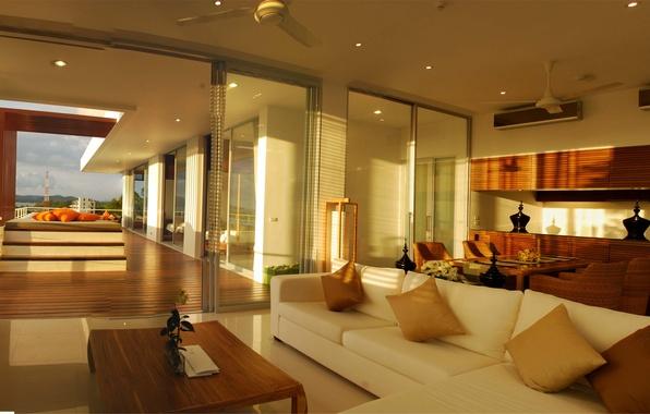 Картинка дизайн, дом, стиль, вилла, интерьер, бассейн, терраса, жилое пространство