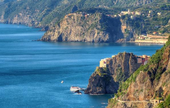 Картинка море, горы, скалы, дома, Италия, Манарола, Чинкве-Терре, Лигурийское побережье