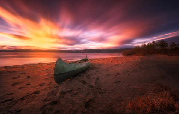 Картинка beach, sunset, Norway, canoe