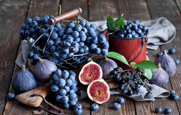 Картинка осень, ягоды, черника, виноград, натюрморт, грозди, инжир, Anna Verdina