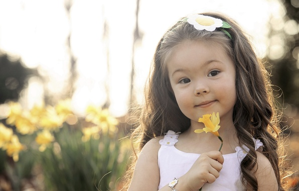 Фото обои девочка, красота, настроение, цветок, портрет