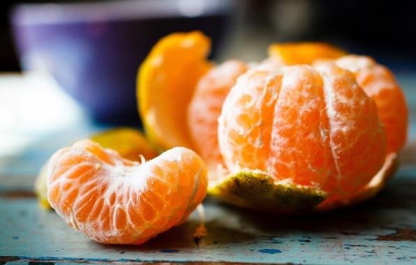 Картинка долька, цитрус, фрукты, кожура, мандарин
