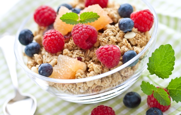 Картинка ягоды, малина, завтрак, черника, злаки, fresh, berries, breakfast, мюсли, muesli, healthy