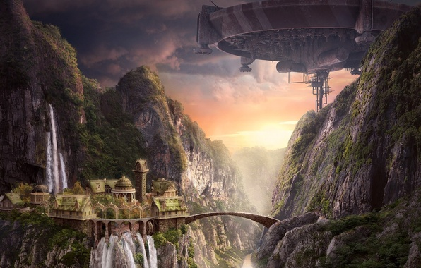 Картинка закат, мост, замок, скалы, корабль, водопад, арт, AkimFimin