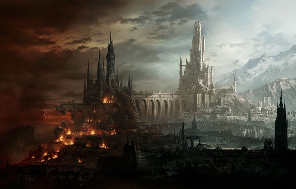 Картинка свет, горы, мост, город, замок, огонь, молнии, фэнтези, арт, разрушение