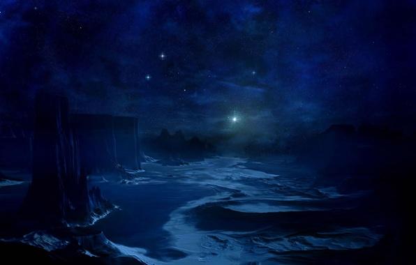 Картинка небо, космос, звезды, планета, space, синее